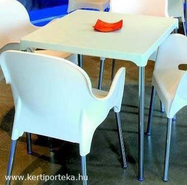 ERMES krém színű asztal fém lábakkal