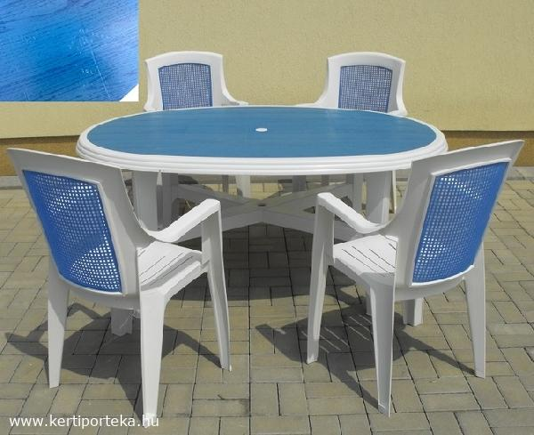 DANUBIO COLOR kék betétes, 6 személyes fehér asztal