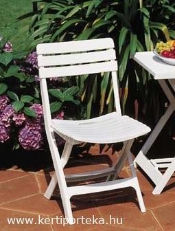 KOMODO összecsukható faerezetes hatású fehér szék a készlet erejéig