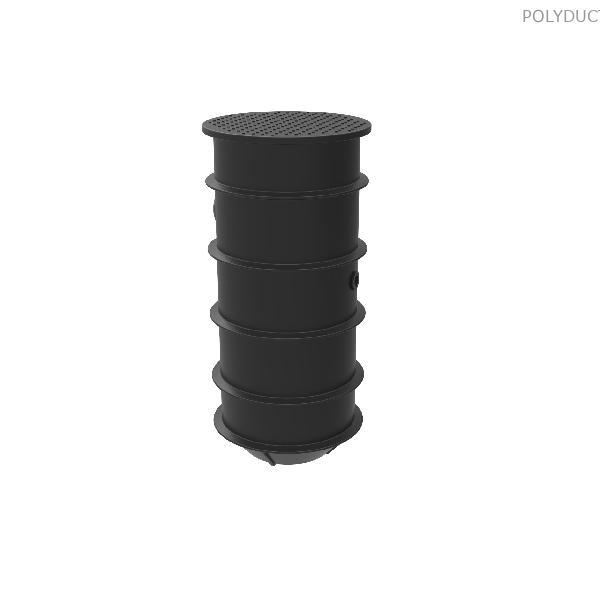 Házi szennyvízátemel? akna (~420 literes) 1 db lépésálló zöldterületi fedlappal és cs?csatlakozó tömítésekkel
