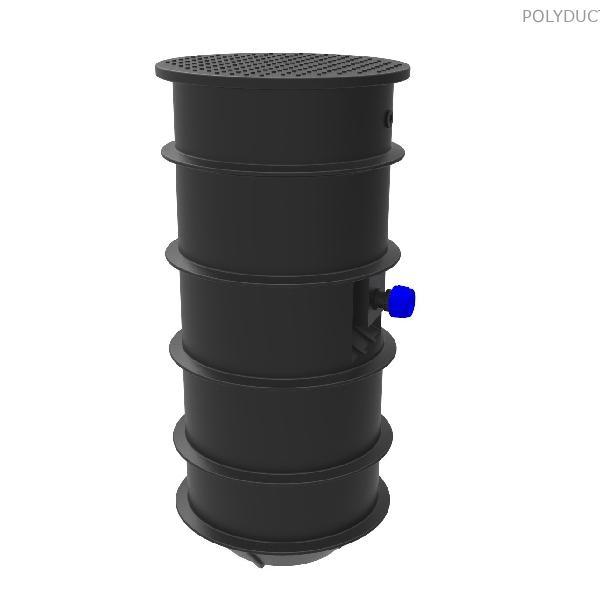 Házi szennyvízátemelő akna (~420 literes) 1 db lépésálló zöldterületi fedlappal, homogén KPE nyomóággal, örvénykerekes szivattyúval