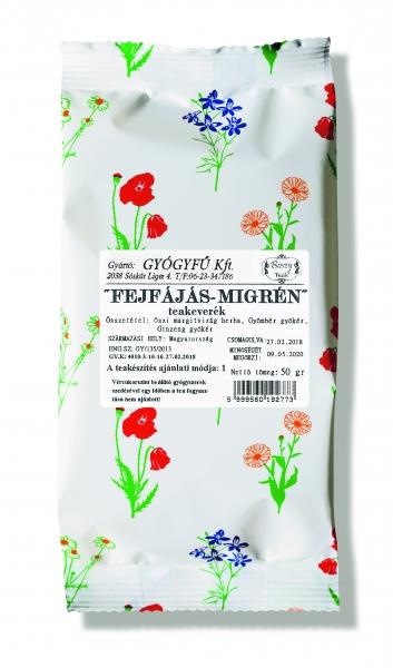 FEJFÁJÁS MIGRÉN( ginzenggyökér, gyömbérgyökér, őszi margitvirág) keverék tea 50gr