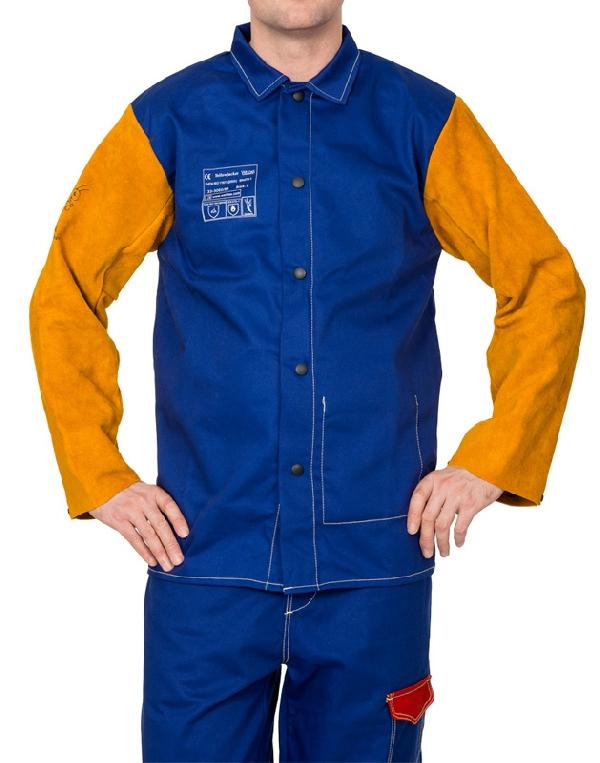 Weldas Yellowjacket kék égésálló hegesztőkabát pamut testrésszel és sárga hasított tehénbőrből készült ujjakkal 33-3060XXXXL