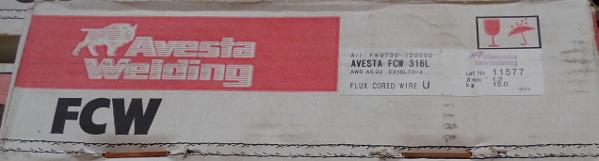 Avesta ötvözöttportöltésű átmeneti huzal FCW 316L 1,2mm