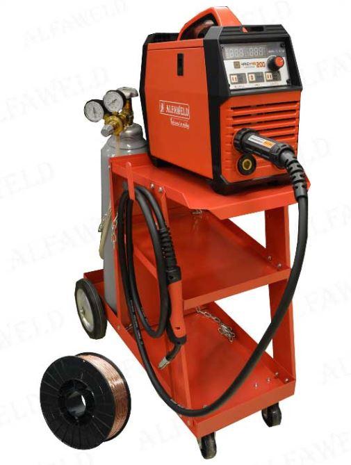 Alfaweld Handy MIG 200A/230V Synergic inverteres hegesztőgép 5Kg CO2 palackkal