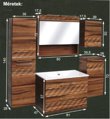 Guido Piero Premium fürdőszoba szekrény, komplett (60cm szett ...