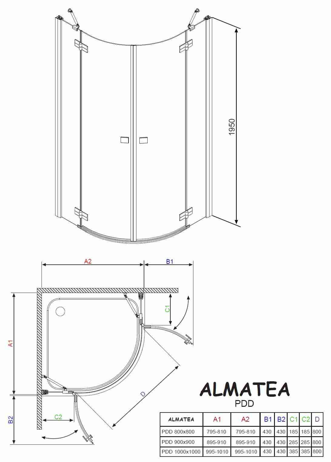 radaway almatea pdd e 100x80 zuhanykabin k dkir akci s k d k dak csaptelep. Black Bedroom Furniture Sets. Home Design Ideas