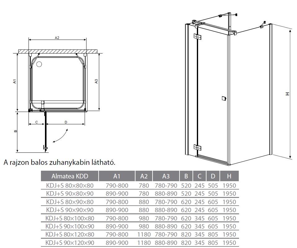 Radaway Almatea KDJ+S 80x80x80 háromoldalú szögletes zuhanykabin ...