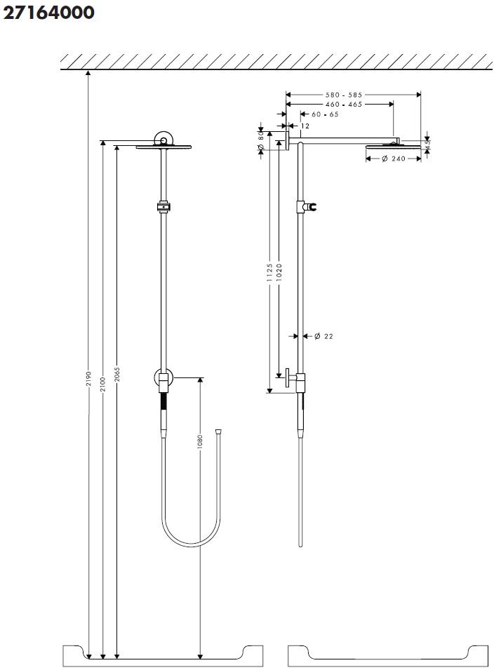 hansgrohe raindance connect 240 showerpipe 460 mm es zuhanykarral kr m 27164000 k dkir. Black Bedroom Furniture Sets. Home Design Ideas