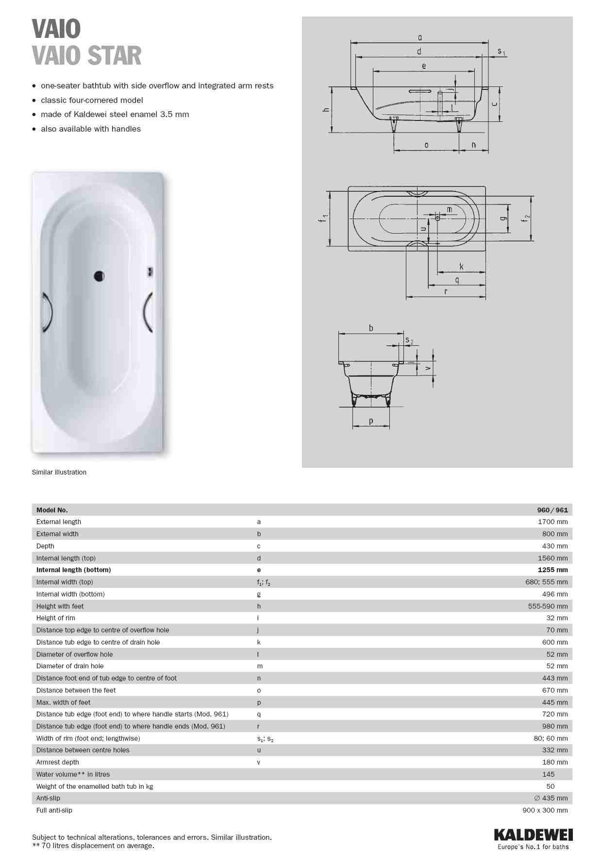 kaldewei vaio set 170x70x43 egyenes k d l b k l n 944. Black Bedroom Furniture Sets. Home Design Ideas