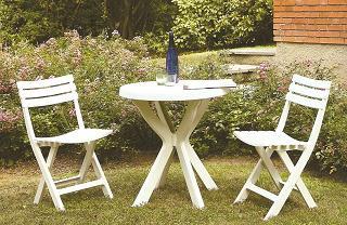 BISTRO fehér szett, összecsukható székekkel