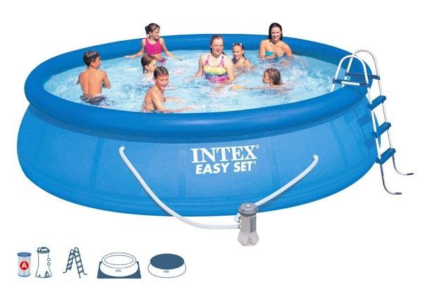 Intex 457x107cm puhafalú medence szett 3,8m3/h vízforgatóval 28166