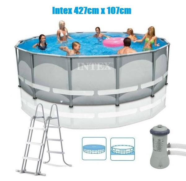 Intex 427x107cm fémvázas medence szett 3,8m3/h vízforgatóval Ultra Frame 26310 NP