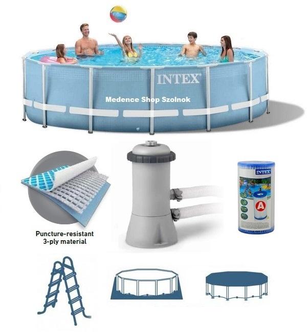 Intex 457x84cm fémvázas medence 2m3/h vízforgatóval 28728 NP