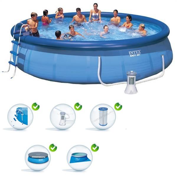 Intex 457x122cm puhafalú medence szett 3,8m3/h vízforgatóval 28168