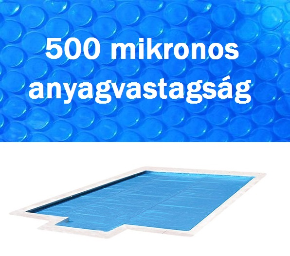 Blue 500 szolártakaró téglalap 3,5m x 7m medencéhez 500 mikron AS-172036