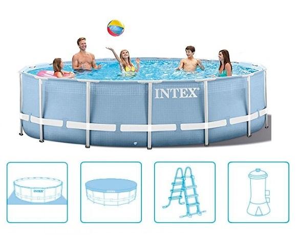 Intex 457x107cm fémvázas medence szett 3,8m3/h vízforgatóval Prism Frame 28734 NP