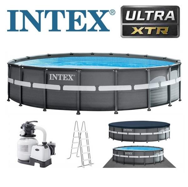 Intex 549x132cm fémvázas medence szett 7,9m3/h homokszűrővel és kiegészítőkkel 28332NP