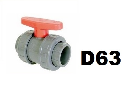 Golyóscsap D63 PTFE teflon, EPDM tömítéssel Coraplax CCG-63