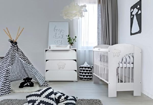 Klups NEL Felhő BABY kiságy 60x120 - fehér