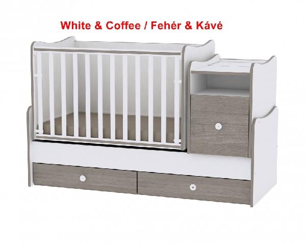 Lorelli Trend PLUS ringatható kombi ágy, 70x165 - White & Coffee / Fehér & Kávé. Videóval