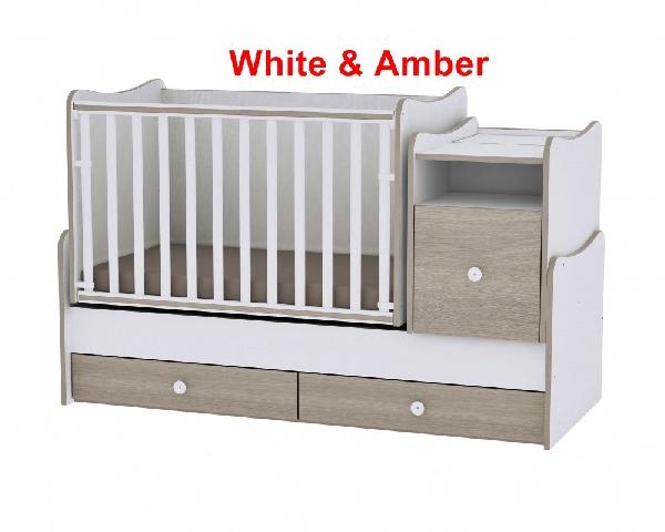 Lorelli Trend PLUS ringatható kombi ágy 165x70 - White & Amber. Videóval