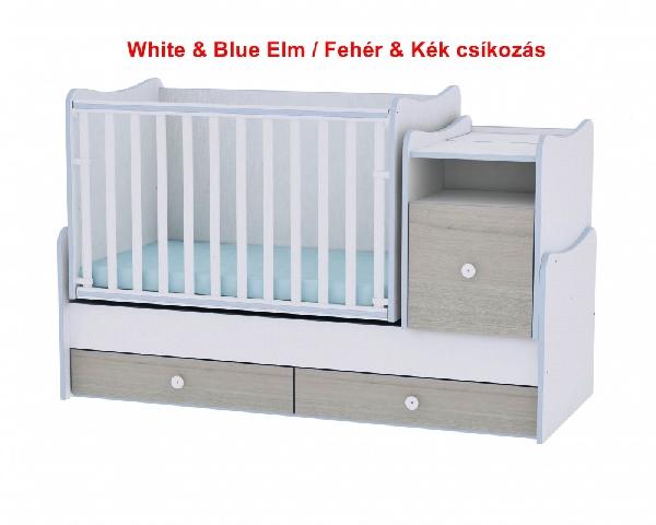 Lorelli Trend PLUS ringatható kombi ágy 70x165 - White & Blue Elm / Fehér & Kék csíkozás. Videóval.
