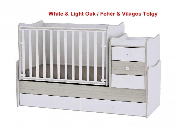Lorelli Maxi Plus ringatható kombi ágy 70x160 -  White & Light Oak / Fehér & Világos Tölgy. Videóval