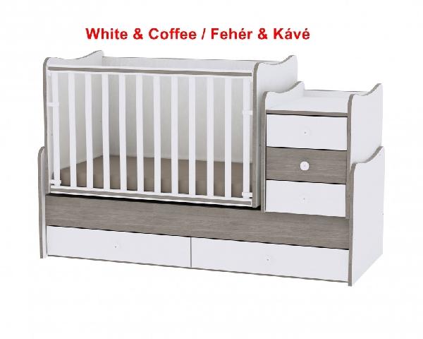 Lorelli Maxi Plus ringatható kombi ágy 70x160 - White & Coffee / Fehér & Kávé. Videóval
