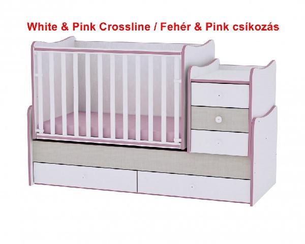 Lorelli Maxi Plus ringatható kombi ágy 70x160 - White & Pink Crossline / Fehér & Pink csíkozás. Videóval