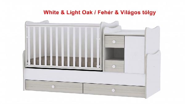 Lorelli MiniMax ringatható kombi ágy 72x190 - White & Light Oak / Fehér & Világos tölgy. Videóval