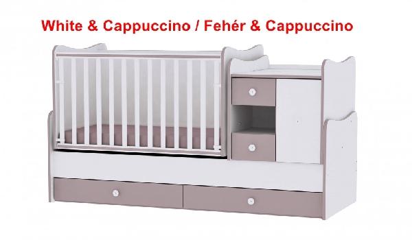Lorelli MiniMax ringatható kombi ágy 72x190 - White & Cappuccino / Fehér & Cappuccino. Videóval