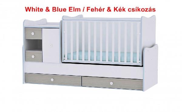 Lorelli MiniMax ringatható kombi ágy 72x190 - White & Blue Elm / Fehér & Kék csíkozás. Videóval