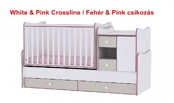 Lorelli MiniMax ringatható kombi ágy 72x190 - White & Pink Crossline / Fehér & Pink csíkozás. Videóval