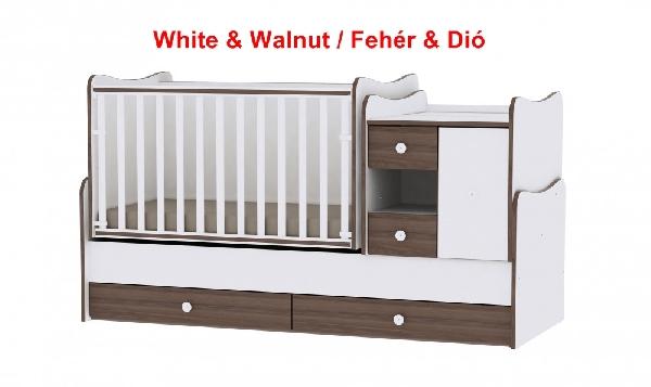 Lorelli MiniMax ringatható kombi ágy 72x190 - White & Walnut / Fehér & Dió. Videóval