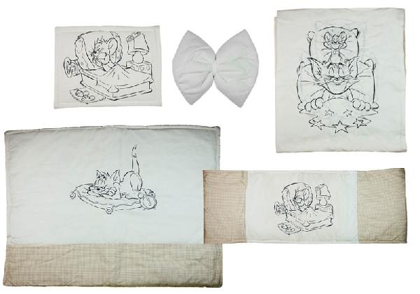 Tom & Jerry 4 részes baba ágynemű garnitúra.Bézs kocka/Fehér