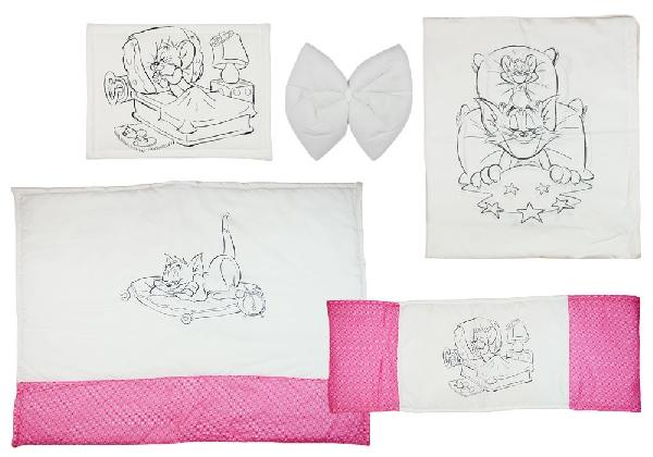 Tom & Jerry 4 részes baba ágynemű garnitúra.Rózsaszín/Fehér
