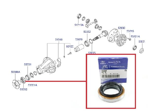 Szimering Hátsó kardánkihajtás L200, Galopper, H1,  Pajero 2.5D (difiszimering)