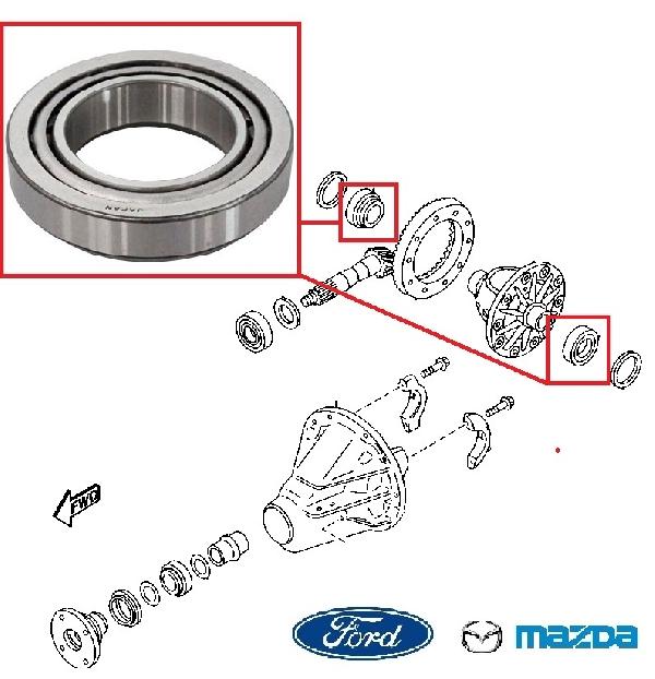 Hátsó difi, differenciál csapágy szélső Ford Mazda
