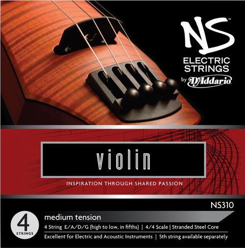 NS Electric Violin String Set, 4/4 Scale, Medium Tension NS310