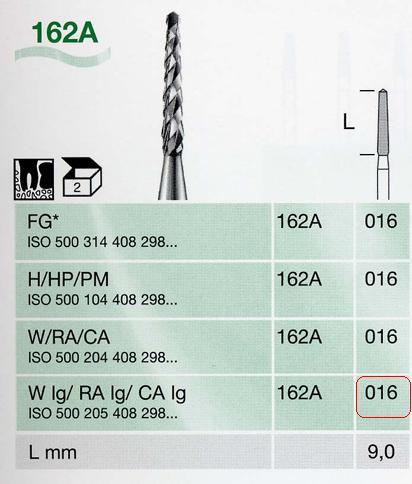 162A/016 W-lg sebészeti keményfém frézer