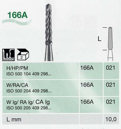 166A/021 H sebészeti keményfém frézer