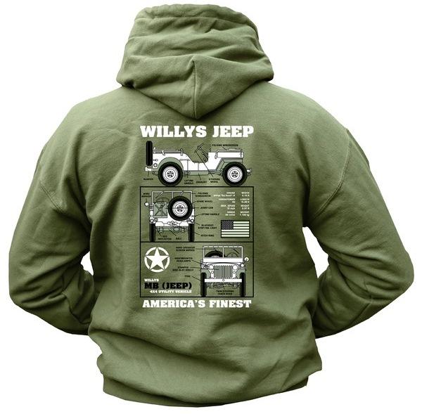 f5913acd9cae Nagyon kényelmes, vastag anyagú, katonai pulóver, elöl U.S. Army felirattal  és jelzéssel, hátul Willys Jeep rajzzal.