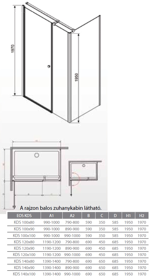 radaway eos kds 120x80 197 osztott ajt s sz gletes zuhanykabin k dkir akci s k d. Black Bedroom Furniture Sets. Home Design Ideas