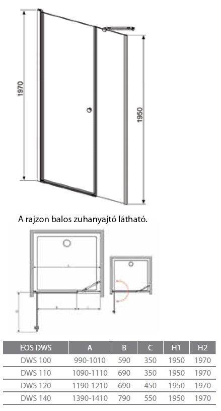 radaway eos dws 100x197 osztott zuhanyajt k dkir akci s k d k dak csaptelep. Black Bedroom Furniture Sets. Home Design Ideas